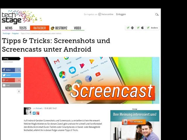 Tipps & Tricks: Screenshots und Screencasts unter Android