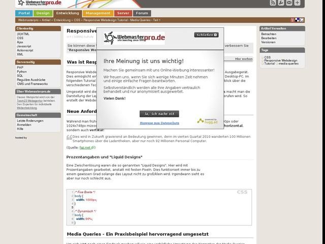 Responsive Webdesign Tutorial - Media Queries - Teil 1 - CSS - Tutorials, Tipps und Tricks für Webmaster auf Webmasterpro.de