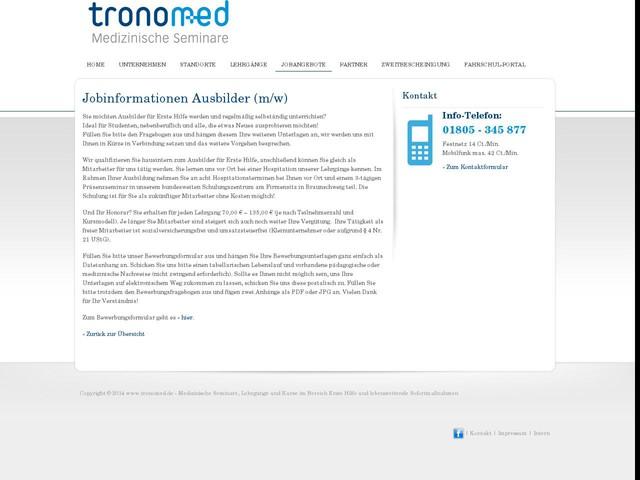 tronomed – Medizinische Seminare, Lehrgänge und Kurse im Bereich Erste Hilfe und lebensrettende Sofortmaßnahmen » Jobinformationen Ausbilder (m/w)