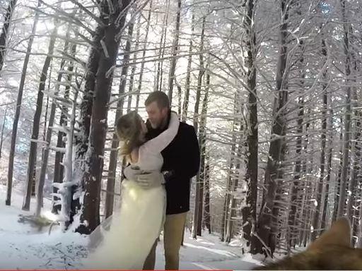 Kær bryllups-video: Familiens hund optager pars vielse
