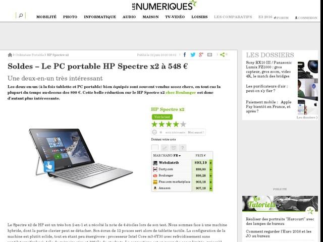 Soldes – Le PC portable HP Spectre x2 à 548€