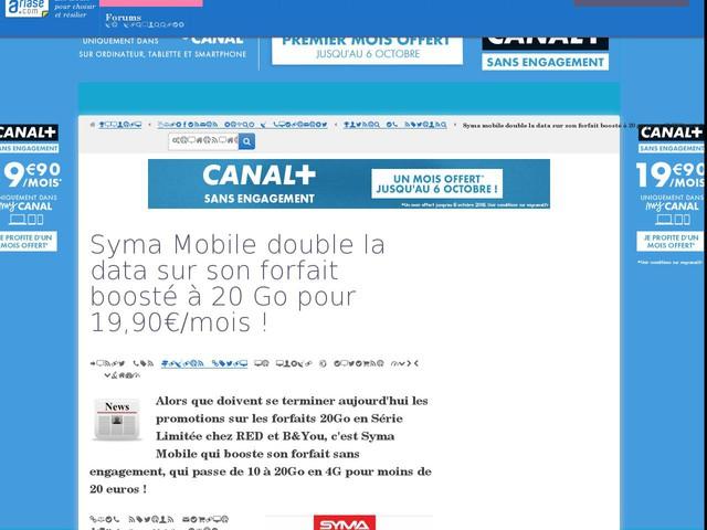 Syma Mobile double la data sur son forfait boosté à 20 Go pour 19,90€/mois !