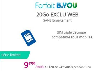 Bouygues Telecompasse son forfait B&You 20 Go à 9,99€/mois: faites vite!