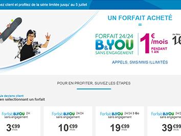 B&You propose son forfait 24/24 à 1 euro pendant douze mois