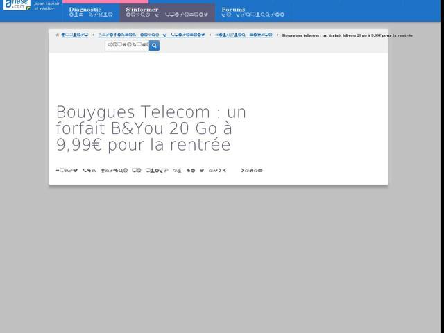 Bouygues Telecom : un forfait B&You 20 Go à 9,99€ pour la rentrée