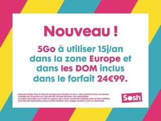 SOSH ajoute de 5 Go d'itinérance par an pour les forfaits à 24.99 €