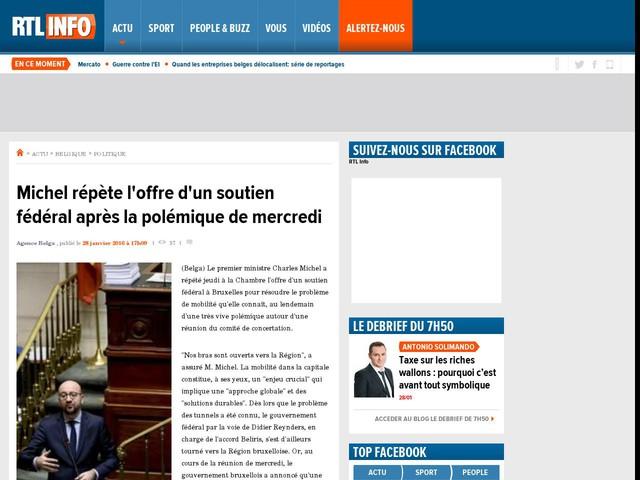 Michel répète l'offre d'un soutien fédéral après la polémique de mercredi
