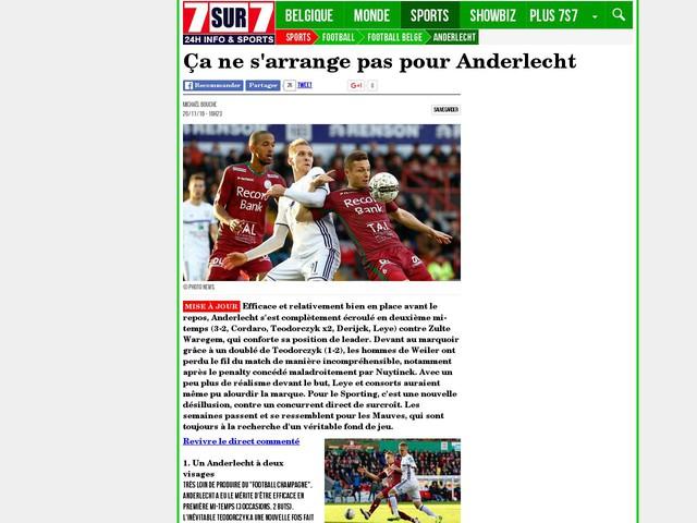 Ça ne s'arrange pas pour Anderlecht