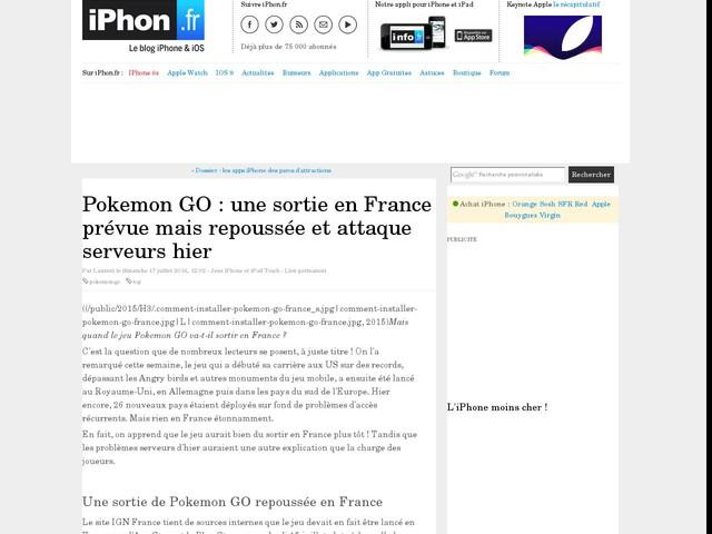 Pokemon GO : une sortie en France prévue mais repoussée et attaque serveurs hier