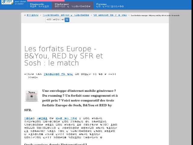 Les forfaits Europe - B&You, RED by SFR et Sosh : le match