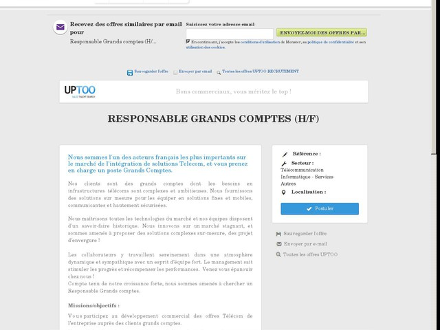 Responsable grands comptes (h/f) [Ile de france]
