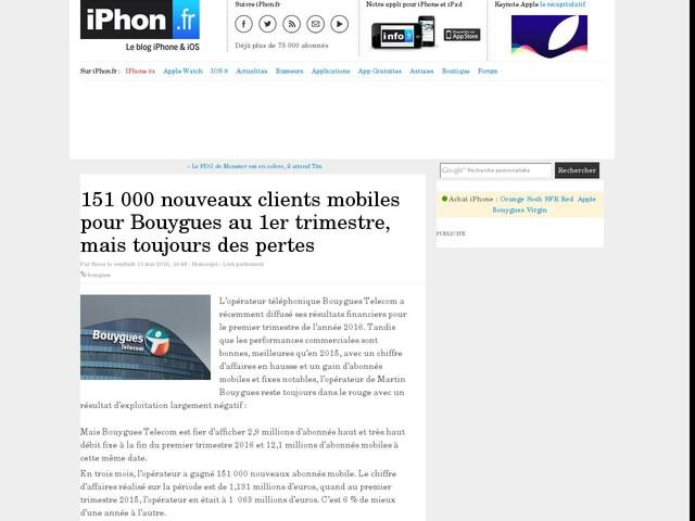 151 000 nouveaux clients mobiles pour Bouygues au 1er trimestre, mais toujours des pertes