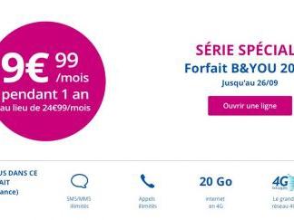 La promo forfait illimité 20 Go à 9,99 euros de retour chez Bouygues