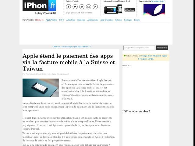 Apple étend le paiement des apps via la facture mobile à la Suisse et Taiwan