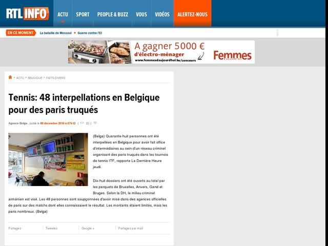 Tennis: 48 interpellations en Belgique pour des paris truqués