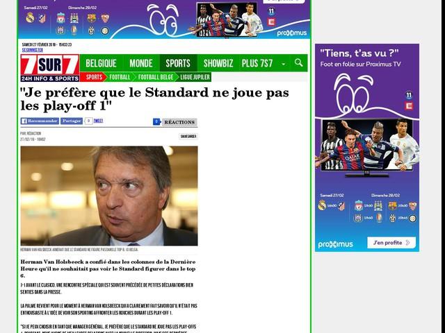 """""""Je préfère que le Standard ne joue pas les play-off 1"""""""