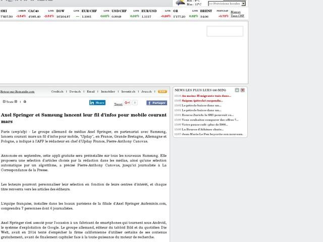 Axel Springer et Samsung lancent leur fil d'infos pour mobile courant mars