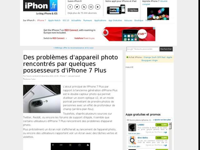 Des problèmes d'appareil photo rencontrés par quelques possesseurs d'iPhone 7 Plus
