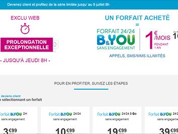 Forfait B&You à 1€ : prolongation jusqu'au 9 juillet !