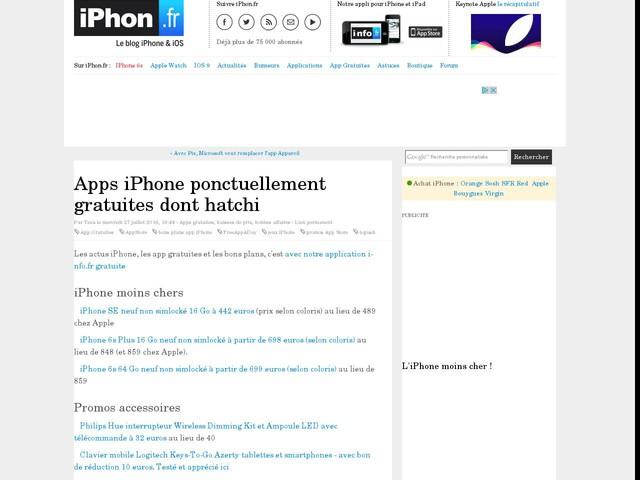 Apps iPhone ponctuellement gratuites dont hatchi