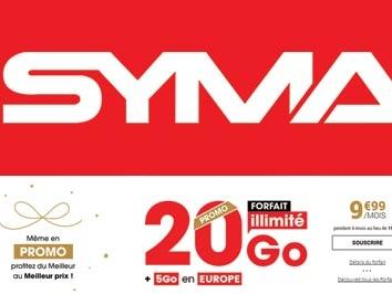 Forfait à moins de 2€ chez Syma Mobile et le 20Go à moins de 10€ !