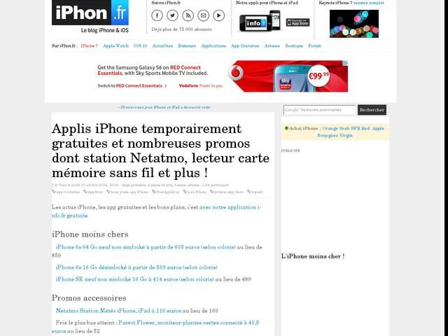 Applis iPhone temporairement gratuites et nombreuses promos dont station Netatmo, lecteur carte mémoire sans fil et plus !