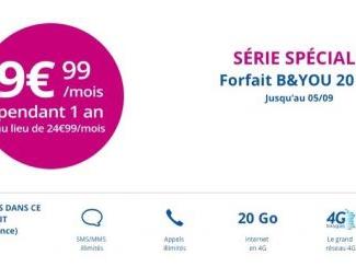 Promos de rentrée sur les forfaits B&You : illimité 20 Go à 9,99 euros /mois
