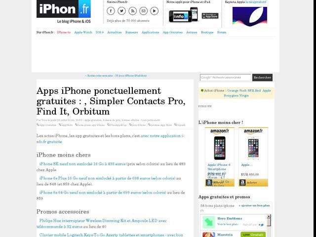 Apps iPhone ponctuellement gratuites : , Simpler Contacts Pro, Find It, Orbitum