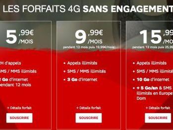 Promos forfaits mobiles : 2h et 2 Go à 5,99 euros, illimité 3 Go à 9,99 euros et autre chez SFR