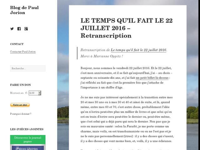 LE TEMPS QU'IL FAIT LE 22 JUILLET 2016 – Retranscription