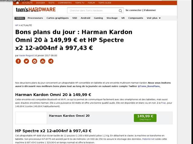 Bons plans du jour : Harman Kardon Omni 20 ? 149,99 ? et HP Spectre x2 12-a004nf ? 997,43 ?