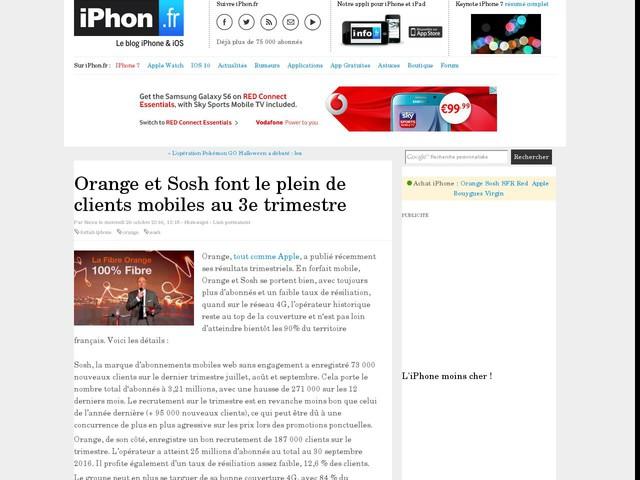 Orange et Sosh font le plein de clients mobiles au 3e trimestre