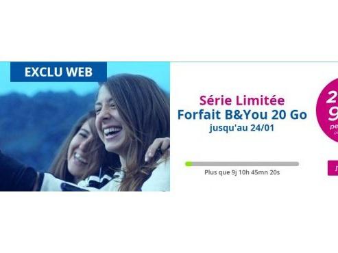 Forfait mobile Bouygues Telecom Appels, SMS/MMS illimités et Data 20Go 4G à 9,99€