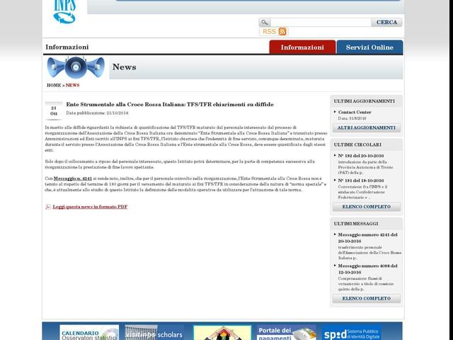 Ente Strumentale alla Croce Rossa Italiana: TFS/TFR chiarimenti su diffide