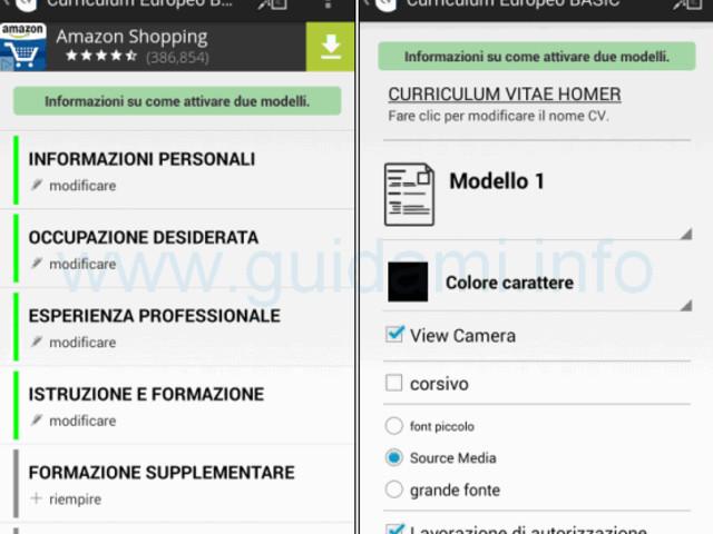 App Android per creare curriculum vitae europeo