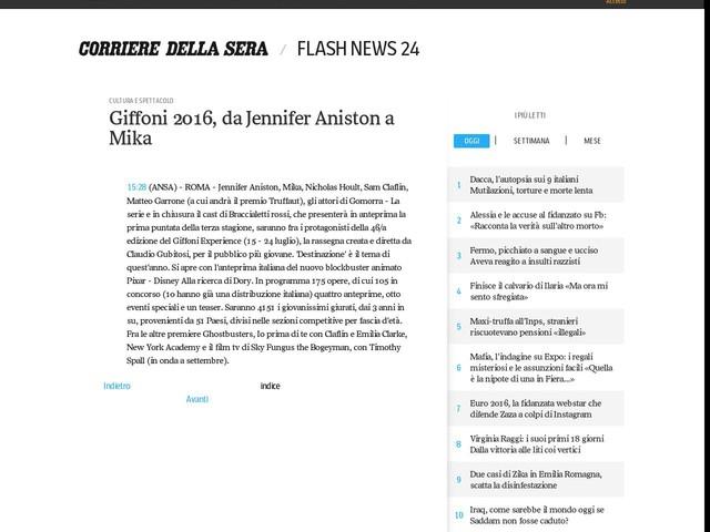 Giffoni 2016, da Jennifer Aniston a Mika