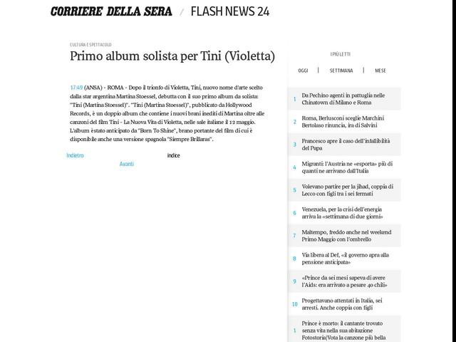Primo album solista per Tini (Violetta)