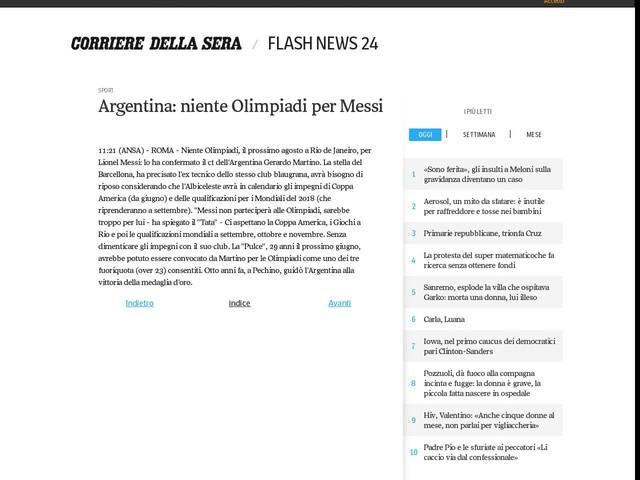 Argentina: niente Olimpiadi per Messi