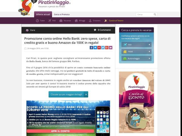Promozione conto online Hello Bank: zero spese, carta di credito gratis e buono Amazon da 100€ in regalo!