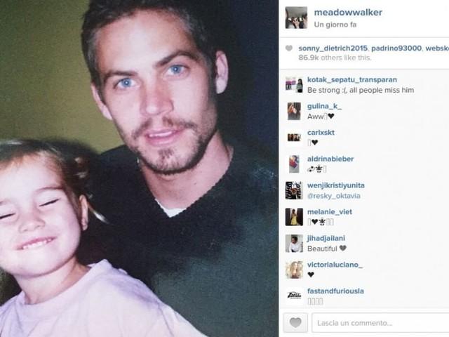La figlia di Paul Walker posta una sua foto con il papà