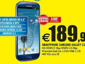 Sottocosto Auchan: Galaxy S3 Neo prezzo 189,99 euro e 6000 pezzi disponibili