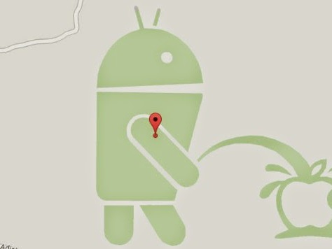 Android Vs Apple, Easter Egg di Google Maps, Il robot Google fa la pipì sulla mela