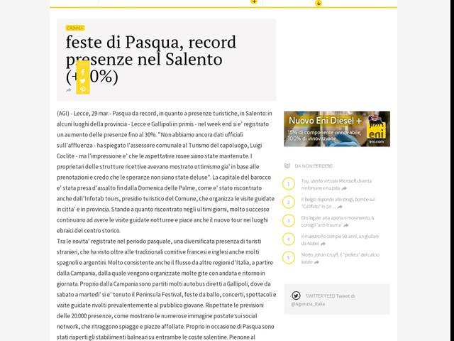 feste di Pasqua, record presenze nel Salento (+30%)
