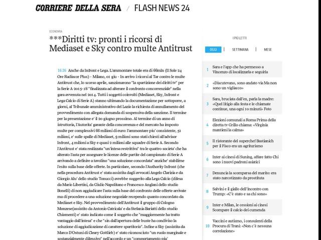 ***Diritti tv: pronti i ricorsi di Mediaset e Sky contro multe Antitrust