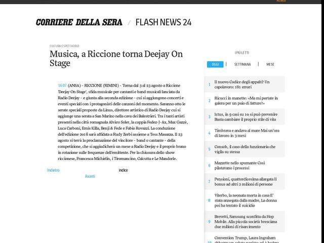 Musica, a Riccione torna Deejay On Stage