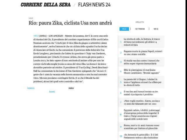 Rio: paura Zika, ciclista Usa non andrà