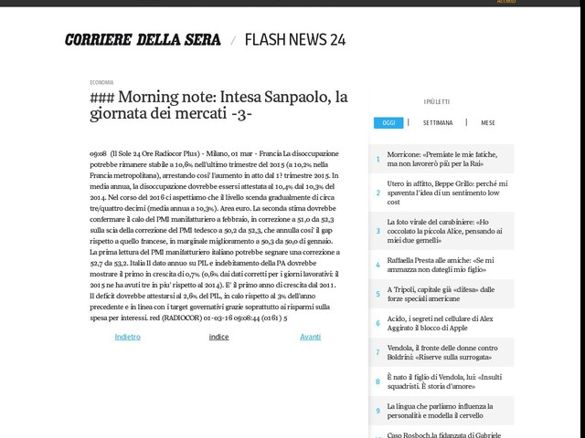 ### Morning note: Intesa Sanpaolo, la giornata dei mercati -3-