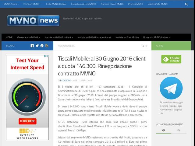 Tiscali Mobile: al 30 Giugno 2016 clienti a quota 146.300