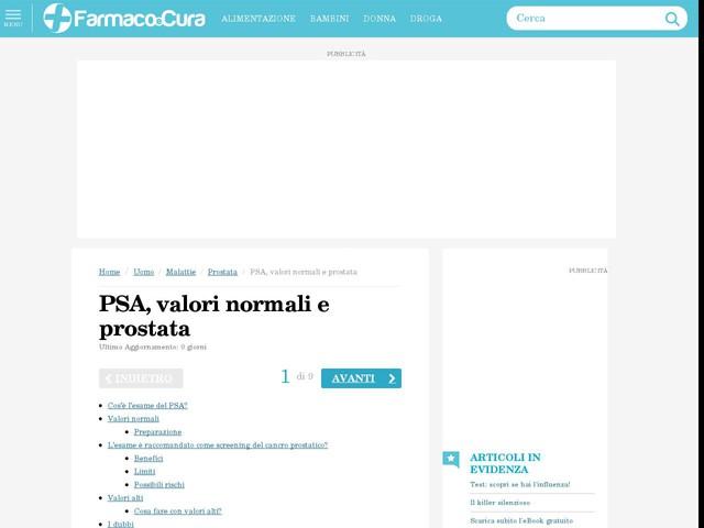 Commenti su PSA, valori normali e prostata di Dr. Cimurro (farmacista)