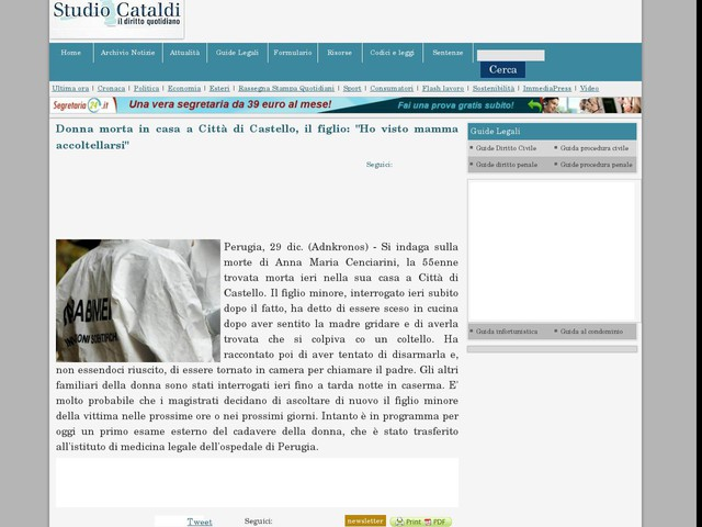 """Donna morta in casa a Città di Castello, il figlio: """"Ho visto mamma accoltellarsi"""""""